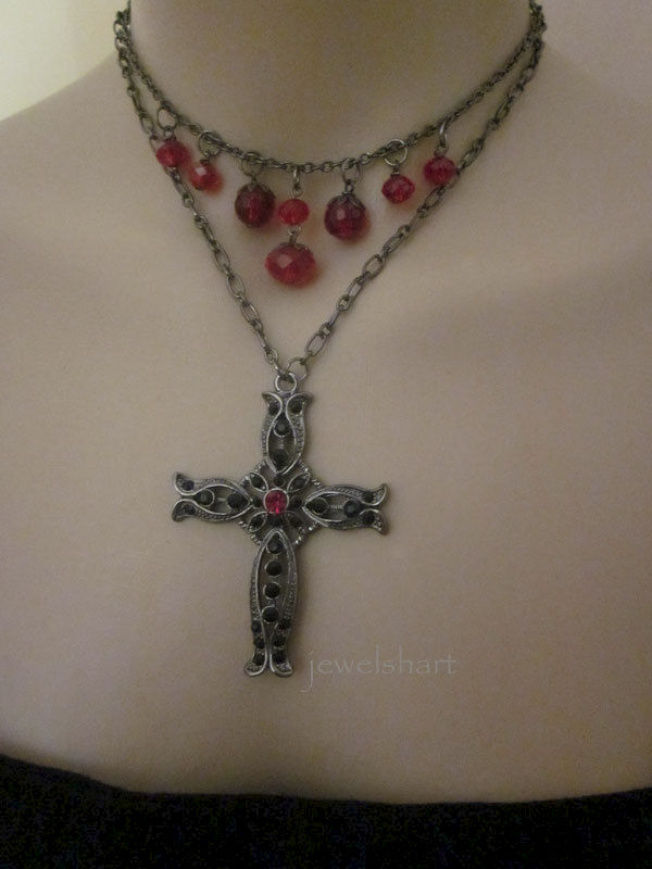 Ornate Cross Victorian Gothic Choker Necklace - product images  of