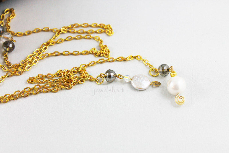 Mother of Pearl Gold Chain Lariat Necklace - product images  of