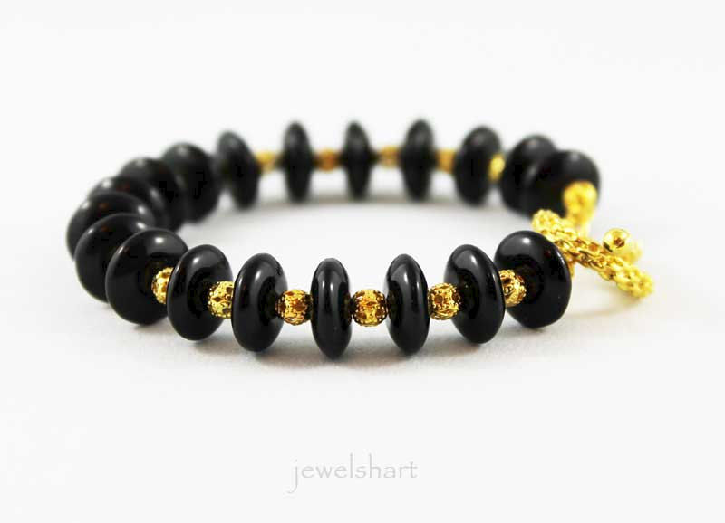 Black Beaded Gold Memory Wire Bangle - product images  of