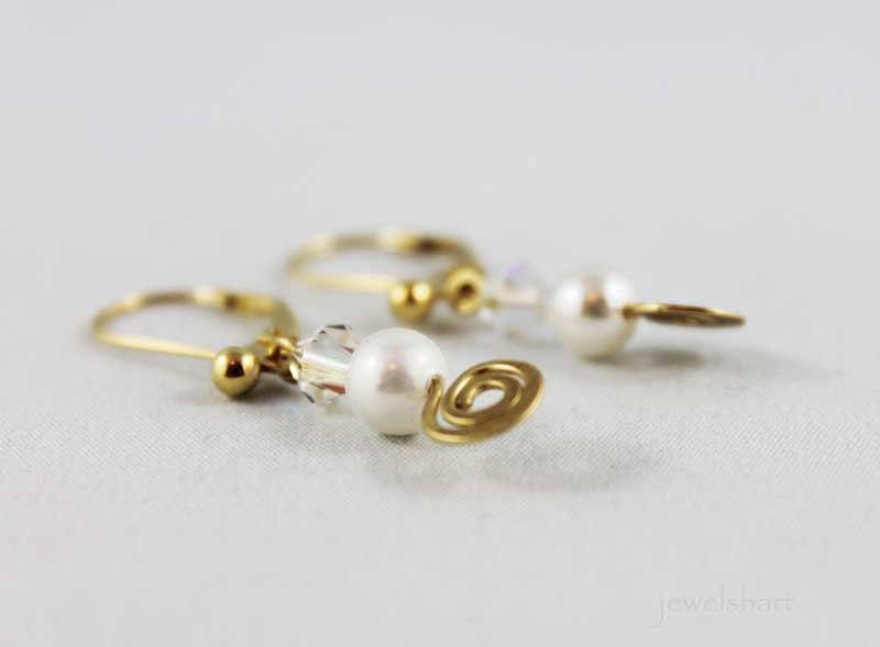 Pearl Drop Gold Plated Wire Wrapped Earrings - product images  of