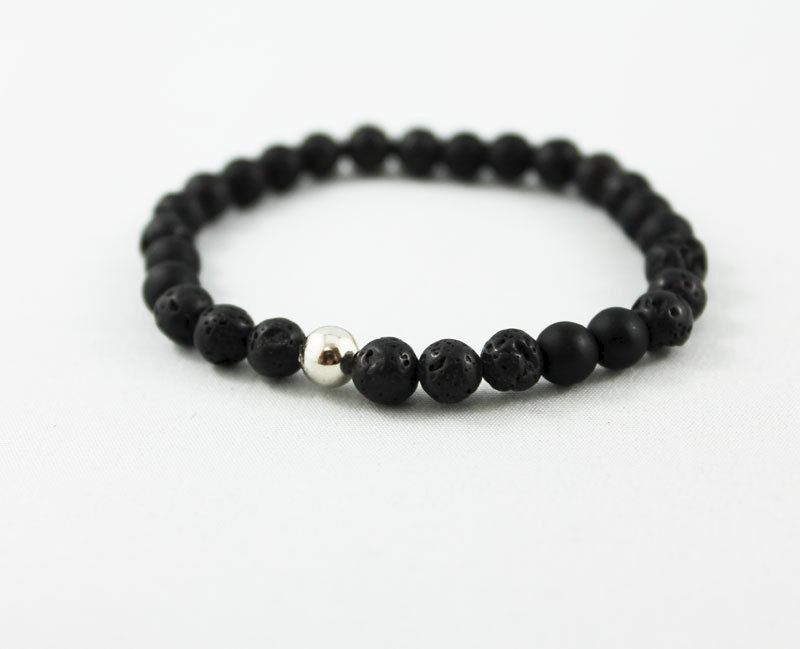 Men's Stretch Lava Bead Bracelet - product images  of