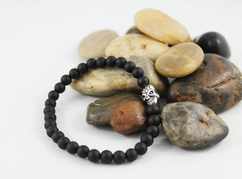 Unisex,Skull,Black,Onyx,Bracelet,Jewelry,Beaded,onyx_bracelet,stacking_bracelet,black_bracelet,beaded_bracelet,stretch_bracelet,stretchy_bracelet,mens_bracelet,womens_bracelet,unisex_bracelet,mens_black_onyx,skull_bracelet,matte_onyx_bracelet,skull_jewelry,onyx,silver plated sku