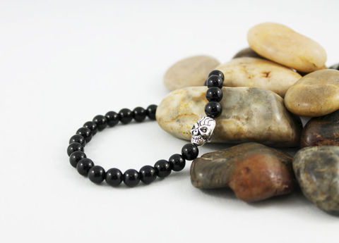 Men's,Skull,Bracelet,Jewelry,Beaded,onyx_bracelet,stacking_bracelet,black_bracelet,beaded_bracelet,stretch_bracelet,stretchy_bracelet,mens_bracelet,shiny_onyx_bracelet,bead_bracelet,womens_bracelet,unisex_bracelet,skull_bracelet,skull_jewelry,onyx,silver plated skull