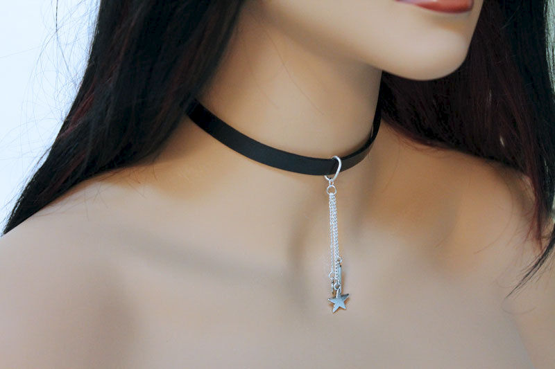 Simple Black Leather Choker  - product images  of