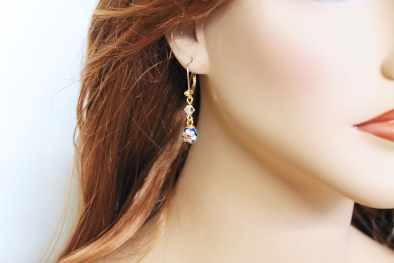 Blue Cloisenne Crystal Earrings - product images  of