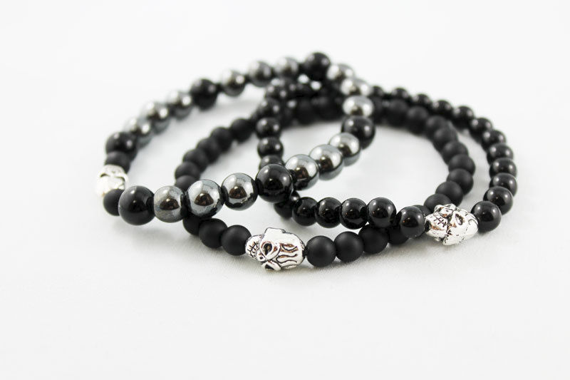 Unisex Black Onyx Bead Stretch Bracelet - product images  of