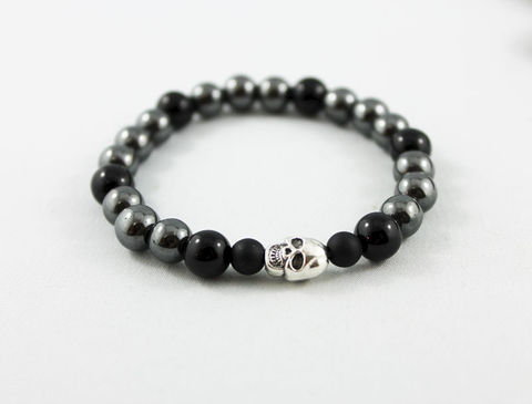Unisex,Skull,Bracelet,Jewelry,Beaded,onyx_bracelet,stacking_bracelet,black_bracelet,beaded_bracelet,stretch_bracelet,mens_bracelet,womens_bracelet,unisex_bracelet,hematite_bracelet,gemstone_jewelry,skull_bracelet,skull_jewelry,gemstone_bracelet,hematite beads,onyx bea