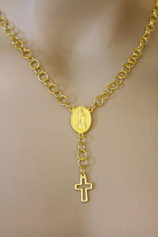Gold Cross Rosary Necklace - product images  of