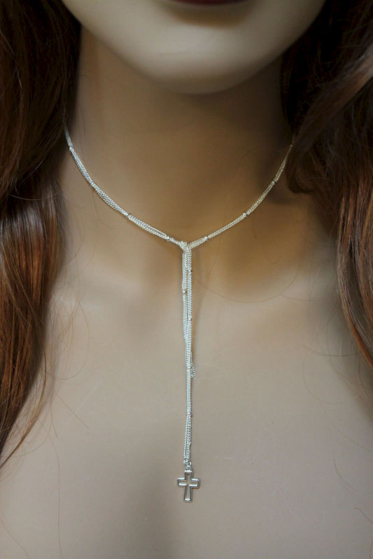 Bright Silver Cross Necklace - product images  of