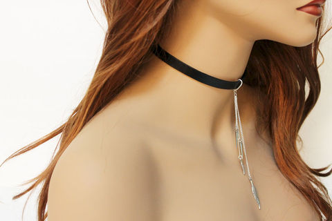 Sexy,Leather,Choker,Necklace,Jewelry,choker_necklace,leather_choker,simple_choker,leather_collar,leather_necklace,leather_jewelry,genuine_leather,black_choker,black_collar,sexy_collar,womens_choker,sexy_choker,sexy_necklace,leather,mixed metals