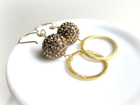 Pave,Crystal,Earrings,with,14k,Vermeil,Gold,Pave Earrings, Crystal Pave, Rhinestone Earrings,Mocha Brown, 14k Vermeil, Vermeil Gold, 14k Gold, Classy