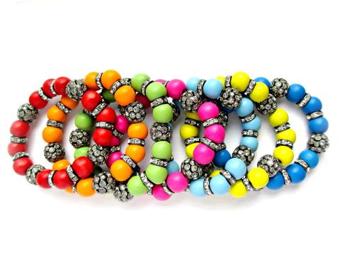 Rainbow,Colored,Beaded,Stretch,Bracelets,wooden beaded bracelets, beaded stretch bracelet,rhinestone bracelet,pave beaded bracelet,Bling Bracelet,rainbow bracelets