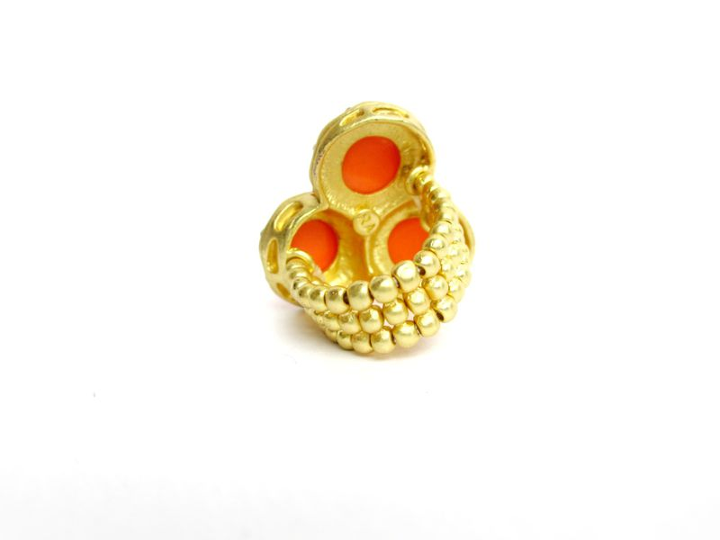 Coral and Matte Gold Rhinestone Stretch Ring - product images  of