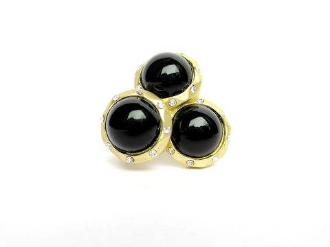 Black,and,Matte,Gold,Rhinestone,Stretch,Ring,beaded stretch ring,cluster ring,stretch ring,matte gold,one size fits most, trendy ring,stretchy ring,black ring
