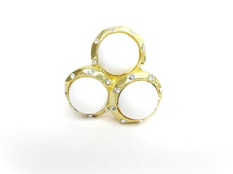 White,and,Matte,Gold,Rhinestone,Stretch,Ring,beaded stretch ring,cluster ring,stretch ring,matte gold,one size fits most, trendy ring,stretchy ring,white ring