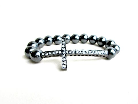 Hematite,Sideways,Cross,Bracelet,Hematite bracelet,sideways cross bracelet,rhinestone cross bracelet,beaded stretch bracelet
