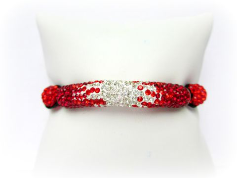 Red,and,White,Pave,Crystal,Bracelet,beaded bracelet,pave bracelet,Rhinestone bracelet,shamballa inspired,pave bar,red and white,red