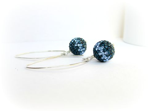 Navy,Blue,and,Lavender,Crystal,Pave,Earrings,,Sterling,Silver,pave crystal earrings, pave earrings, navy blue earrings, Preciosa Crystal Earrings, Sterling Silver Earrings
