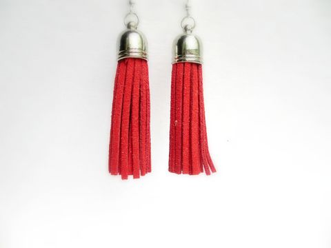 Red,Tassel,Earrings,,Fringe,Earrings,red tassel earrings,red fringe earrings,fringe earrings,red earrings,suede earrings