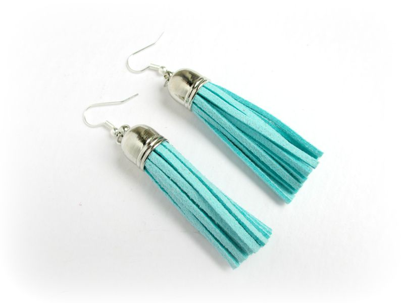 Aqua Tassel Fringe Earrings, Fringe Earrings - product images  of