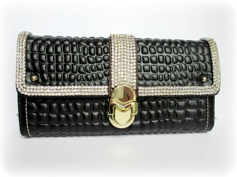 Black,Leather,Rhinestone,Wallet,with,Buckle,Closure,rhinestone leather wallet,genuine leather wallet,Rhinestone wallet,wallet