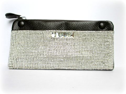 Chocolate,Leather,and,Rhinestone,Wallet/Clutch,genuine leather wallet,Rhinestone wallet,clutch,Rhinestone clutch,leather clutch,chocolate brown