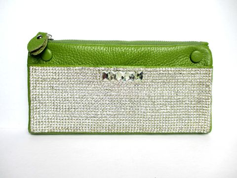 Bright,Green,Leather,and,Rhinestone,Wallet,green leather wallet,leather wallet,rhinestone wallet,rhinestone clutch,leather clutch,bright green, lime