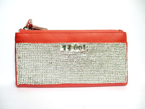 Orange,Leather,and,Rhinestone,Wallet,orange leather wallet,genuine leather wallet,Rhinestone leather wallet,rhinestone wallet,orange