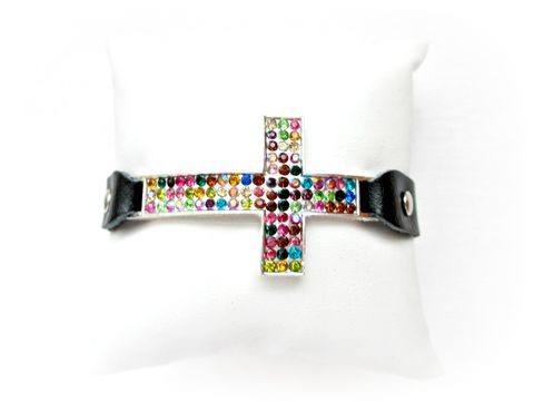 Black,Leather,Rhinestone,Cross,Bracelet,with,Rainbow,Crystals,leather cross bracelet,Rhinestone leather cross bracelet,cross bracelet,leather bracelet