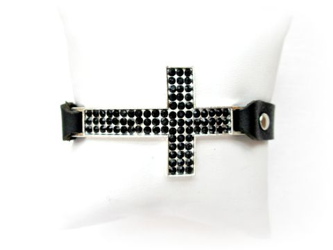 Large,Leather,and,Rhinestone,Cross,Bracelet,with,Black,Crystals,large leather cross bracelet,rhinestone leather bracelet,leather cross bracelet,leather bracelet,black leather bracelet