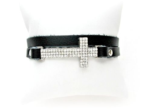 Double,Wrap,Leather,Bracelet,with,Rhinestone,Cross,leather cross bracelet,wrap bracelet,leather wrap bracelet,Rhinestone Cross bracelet,black leather bracelet
