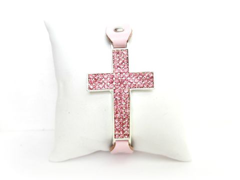 Breast,Cancer,Awareness,Pink,Leather,Cross,Bracelet,breast cancer awareness jewelry,cancer awareness bracelet,cross bracelet,pink bracelet,pink jewelry,pink leather bracelet