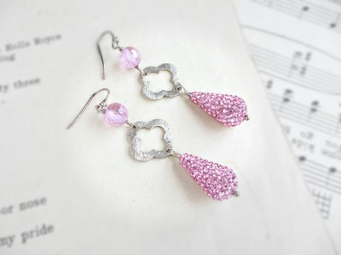 Pink,Pave,and,Sterling,Silver,Earrings,,Drop,Earrings,pink earrings, pave earrings, drop earrings, sterling silver earrings,CZ earrings,crystal pave earrings