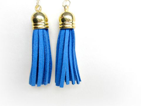 Denim,Blue,Tassel,Earrings,,Earring,denim blue tassel earrings,tassel earrings,microfiber earrings,tassels,denim blue,blue earrings