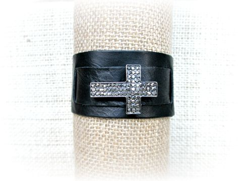 Black,Leather,Bracelet,with,Rhinestone,Cross,black leather cuff bracelet,black leather bracelet,leather cuff,leather wrap bracelet