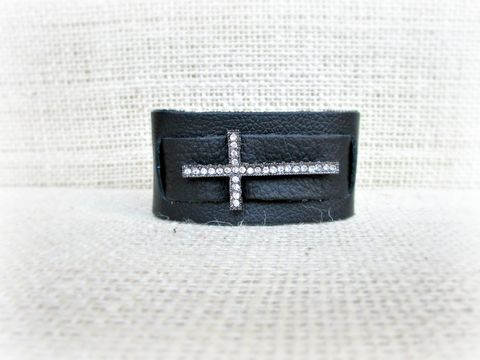 Black,Leather,Cuff,Bracelet,with,Rhinestone,Cross,leather cuff bracelet,black leather bracelet,black bracelet,cross bracelet,leather cross bracelet