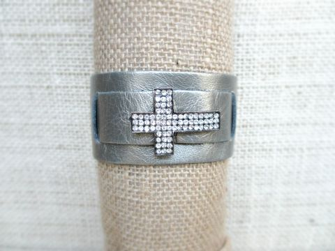 Metallic,Grey,Leather,Cuff,Bracelet,with,Rhinestone,Cross,leather cuff bracelet,leather cuff,leather bracelet,black leather bracelet,leather cross bracelet,leather wrap bracelet