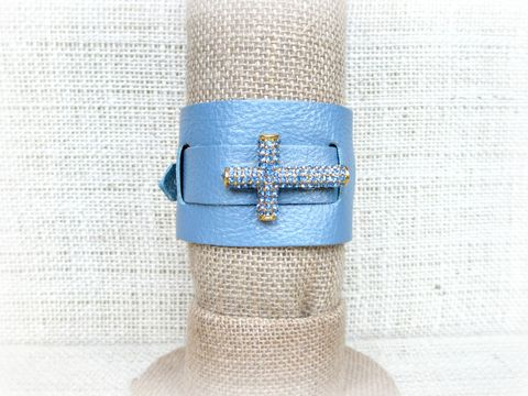 Blue,Leather,Cuff,Bracelet,,Wrap,Bracelet,with,Rhinestone,Cross,blue leather bracelet,leather cuff bracelet,leather wrap bracelet,rhinestone cross bracelet