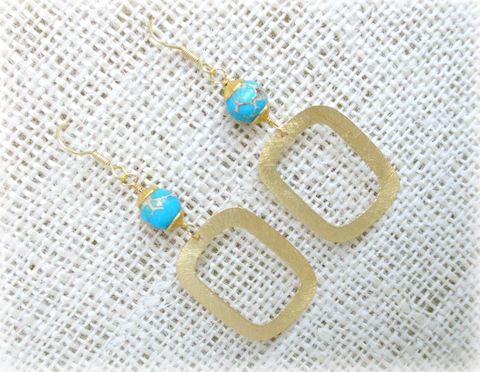 18k,Gold,Square,Turquoise,Earrings,square earrings,gold earrings,turquoise earrings,18k gold earrings