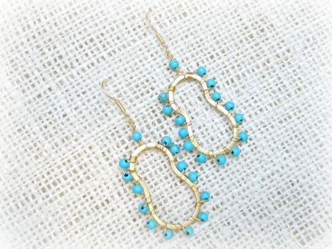18k,Gold,Turquoise,Wire,Wrapped,Earrings,wire wrapped earrings,turquoise earrings,gold earrings,blue earrings,18k gold earrings