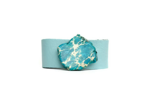 Leather,and,Stone,Cuff,Bracelet,,Light,Blue,leather cuff,cuff bracelet,light blue cuff,leather bracelet