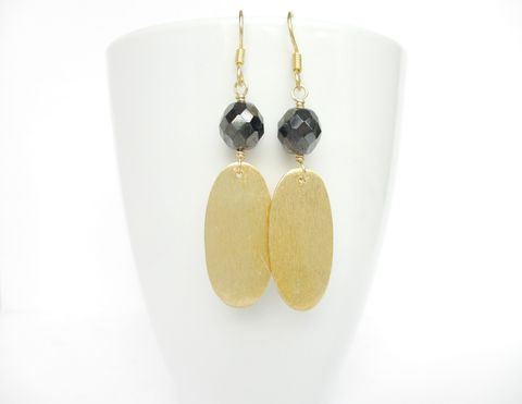 Brushed,Vermeil,Gold,and,Hematite,Earrings,vermeil gold,gold,hematite earrings,handmade earrings, matte gold earrings,oval earrings