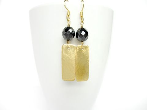 Brushed,Vermeil,Gold,Rectangle,Earrings,with,Vintage,Hematite,rectangle,brushed gold,matte gold,hematite,handmade earrings,vermeil gold,vintage bead earrings