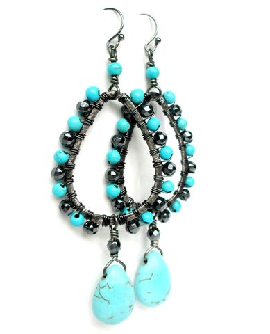 Turquoise,Chandelier,Earrings,in,Gunmetal,chandelier earrings,turquoise earrings,teardrop earrings,gunmetal earrings