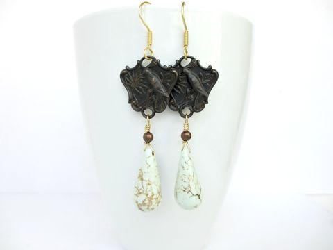 Dark,Bohemian,Stone,Drop,Earrings,drop earrings,stone earrings,bohemian earrings,boho earrings