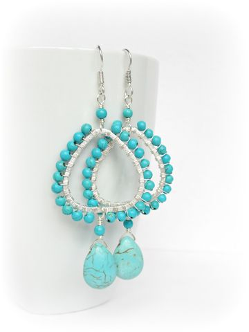 Turquoise,Chandelier,earrings,in,Silver,turquoise chandelier earrings,silver earrings,teardrop earrings,blue,turquoise