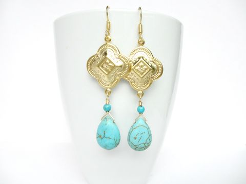 Gold,Bohemian,Drop,Earrings,bohemian earrings,gold earrings,turquoise earrings,drop earrings