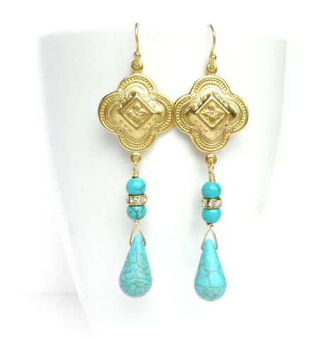 Gold,Bohemian,Quatrefoil,Drop,Earrings,quatrefoil earrings,gold earrings,turquoise earrings,bohemian earrings