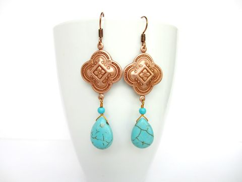 Rose,Gold,and,Turquoise,Quatrefoil,Drop,Earrings,rose gold drop earrings,drop earrings,rose gold,bohemian earrings,turquoise earrings