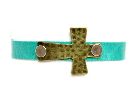 Mint,leather,Cuff,Bracelet,mint,leather cuff,leather bracelet,cuff bracelet,cross bracelet,cross cuff